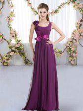 Dynamic Straps Sleeveless Vestidos de Damas Floor Length Belt and Hand Made Flower Dark Purple Chiffon