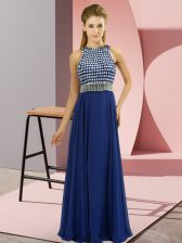 Inexpensive Blue Empire Organza Scoop Sleeveless Beading Floor Length Side Zipper Prom Party Dress