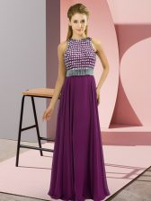 Hot Sale Floor Length Eggplant Purple Dress for Prom Chiffon Sleeveless Beading