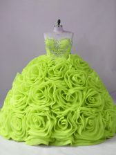 Yellow Green Fabric With Rolling Flowers Lace Up Ball Gown Prom Dress Sleeveless Brush Train Beading