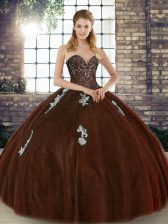 Attractive Floor Length Lace Up Vestidos de Quinceanera Brown for Military Ball and Sweet 16 and Quinceanera with Beading and Appliques