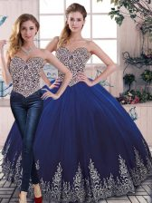 Free and Easy Sweetheart Sleeveless Lace Up Sweet 16 Quinceanera Dress Royal Blue Tulle