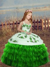 Affordable Sleeveless Lace Up Floor Length Embroidery and Ruffled Layers Pageant Dress for Teens