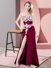 Sweetheart Sleeveless Zipper Prom Gown Fuchsia Chiffon