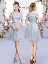 Graceful Tulle Scoop Sleeveless Zipper Lace and Belt Court Dresses for Sweet 16 in Grey
