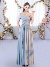 Grey Sleeveless Belt Floor Length Court Dresses for Sweet 16