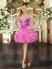 Fantastic Organza Sweetheart Sleeveless Lace Up Beading and Ruffles in Hot Pink