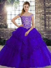 Purple Off The Shoulder Neckline Beading and Lace Quinceanera Dress Sleeveless Lace Up