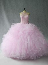 Simple Sleeveless Tulle Floor Length Lace Up Quinceanera Gown in Pink with Beading and Ruffles