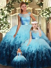 Tulle Sleeveless Floor Length Vestidos de Quinceanera and Lace and Ruffles