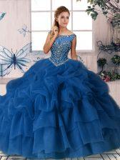 Royal Blue Scoop Neckline Beading and Pick Ups Quinceanera Dresses Sleeveless Zipper