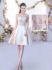 Champagne Satin Lace Up Dama Dress Sleeveless Mini Length Lace and Belt