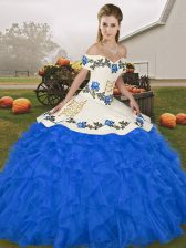 Vintage Royal Blue Ball Gowns Embroidery and Ruffles Vestidos de Quinceanera Lace Up Organza Sleeveless Floor Length