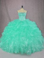 Custom Fit Turquoise Strapless Neckline Beading and Ruffles Sweet 16 Quinceanera Dress Sleeveless Lace Up