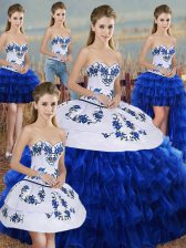 Royal Blue Sweet 16 Dress Military Ball and Sweet 16 and Quinceanera with Embroidery and Ruffled Layers and Bowknot Sweetheart Sleeveless Lace Up