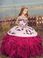 Great Floor Length Ball Gowns Sleeveless Hot Pink Pageant Gowns For Girls Lace Up