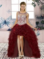 Attractive Burgundy A-line Organza Scoop Sleeveless Beading and Ruffles High Low Lace Up Prom Party Dress