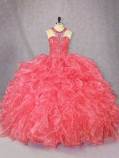 Great Sleeveless Organza Floor Length Zipper 15th Birthday Dress in Coral Red with Beading and Ruffles