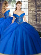 Off The Shoulder Sleeveless Tulle Quinceanera Gown Beading and Pick Ups Brush Train Lace Up
