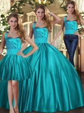Teal Sleeveless Floor Length Ruching Lace Up Ball Gown Prom Dress