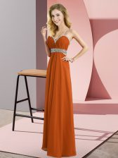High End Rust Red Chiffon Criss Cross Straps Sleeveless Floor Length Dress for Prom Beading