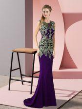 Decent Sweep Train Column/Sheath Homecoming Dress Purple Scoop Satin Sleeveless Zipper