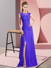 Gorgeous Bateau Sleeveless Prom Party Dress Floor Length Beading Purple Chiffon