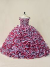 Multi-color Sleeveless Organza Court Train Lace Up Quinceanera Dress for Sweet 16 and Quinceanera