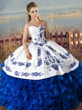 Blue And White Sleeveless Embroidery and Ruffles Floor Length Quinceanera Dress