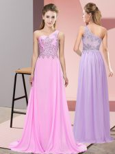 Adorable Floor Length Side Zipper Prom Dress Pink for Prom and Party with Beading