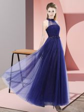 Delicate Purple Empire Beading and Appliques Dama Dress Lace Up Tulle Sleeveless Floor Length