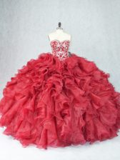 Pretty Sleeveless Organza Floor Length Lace Up Quince Ball Gowns in Burgundy with Beading and Ruffles
