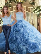 Two Pieces Quinceanera Dresses Baby Blue Scoop Fabric With Rolling Flowers Sleeveless Floor Length Zipper