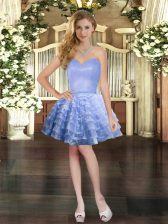 Lavender Ball Gowns Ruffled Layers Prom Evening Gown Lace Up Organza Sleeveless Mini Length