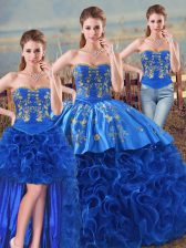Suitable Sleeveless Floor Length Embroidery and Ruffles Lace Up Sweet 16 Quinceanera Dress with Royal Blue