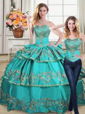 Luxury Aqua Blue Two Pieces Sweetheart Sleeveless Organza Floor Length Lace Up Embroidery and Ruffled Layers 15th Birthday Dress