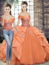 Organza Off The Shoulder Sleeveless Lace Up Beading and Ruffles Ball Gown Prom Dress in Orange
