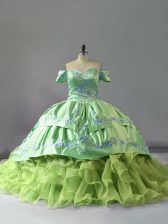 Customized Organza Off The Shoulder Sleeveless Chapel Train Lace Up Embroidery and Ruffles Sweet 16 Dresses in Yellow Green