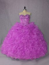 Gorgeous Sweetheart Sleeveless Organza Quinceanera Dress Beading Lace Up
