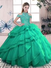 Custom Fit Turquoise Sleeveless Floor Length Beading and Ruffles Lace Up Ball Gown Prom Dress