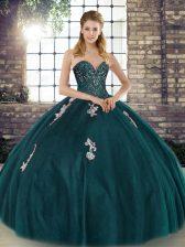 Custom Design Peacock Green Lace Up Vestidos de Quinceanera Beading and Appliques Sleeveless Floor Length