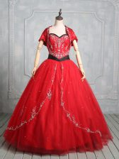 Tulle Sweetheart Sleeveless Lace Up Embroidery Quinceanera Gown in Red