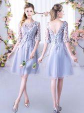 Stunning Grey High-neck Lace Up Lace Vestidos de Damas Half Sleeves