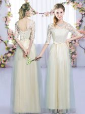 Stylish Tulle V-neck Half Sleeves Lace Up Lace and Bowknot Dama Dress in Champagne