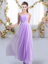 Custom Designed Lace Up Quinceanera Court of Honor Dress Lavender for Wedding Party with Beading Sweep Train