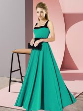 Customized Floor Length Turquoise Dama Dress Square Sleeveless Zipper