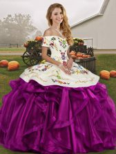 Captivating Off The Shoulder Sleeveless Sweet 16 Dresses Floor Length Embroidery and Ruffles White And Purple Organza
