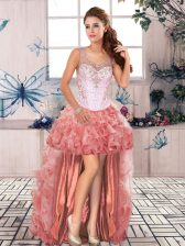 Romantic A-line Dress for Prom Watermelon Red Scoop Organza Sleeveless High Low Zipper