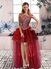 High Quality Sleeveless Beading and Pick Ups Zipper Prom Dress