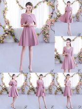 Pink A-line Chiffon Scoop Half Sleeves Ruching Mini Length Zipper Vestidos de Damas